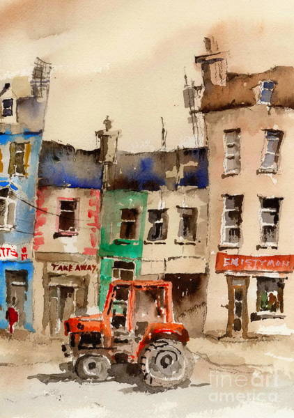 Painting - Red Tractor In Ennistymon Clare by Val Byrne