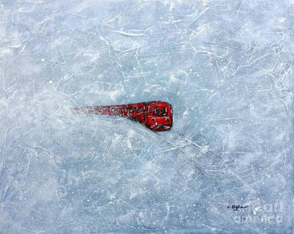 Painting - Red Train Braving The Winter by Cristina Stefan