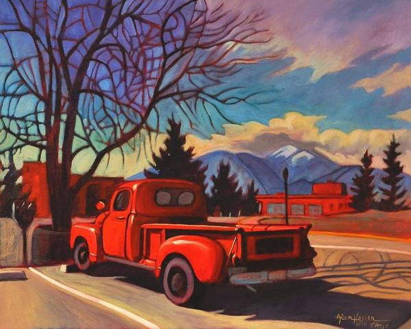 Vintage Fire Truck Painting - Red Truck by Art West