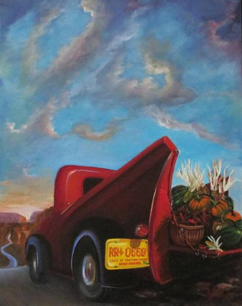 Husk Painting - Red Truck Fall Harvest by Judy Lybrand
