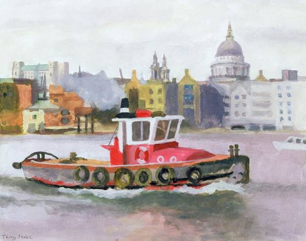 River Drawing - Red Tug Passing St. Pauls, 1996 by Terry Scales