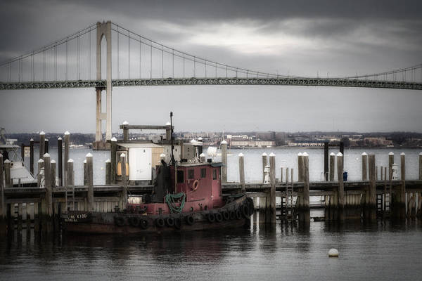 Newport Ri Wall Art - Photograph - Red Tugboat And Newport Bridge II by Joan Carroll