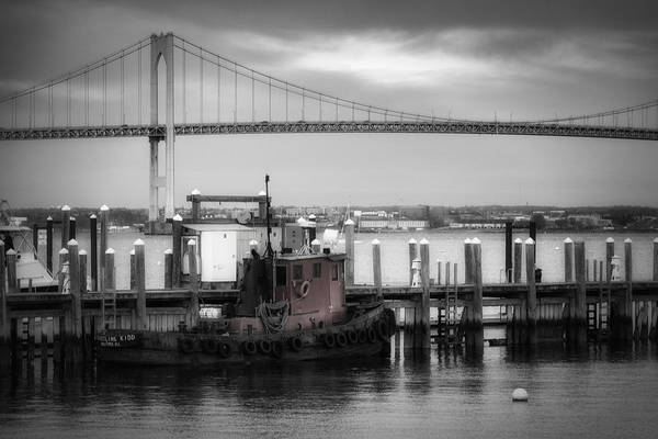 Newport Ri Wall Art - Photograph - Red Tugboat And Newport Bridge by Joan Carroll