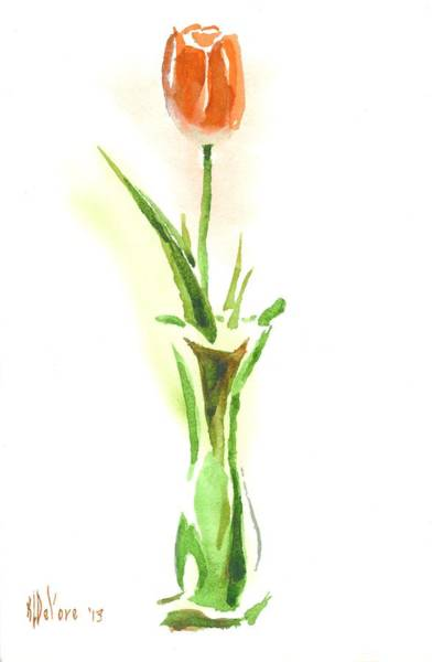 Painting - Red Tulip In A Green Vase by Kip DeVore