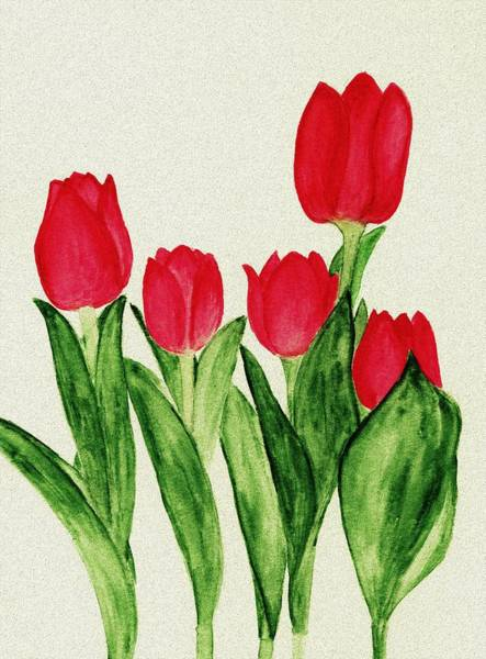 Painting - Red Tulips by Anastasiya Malakhova