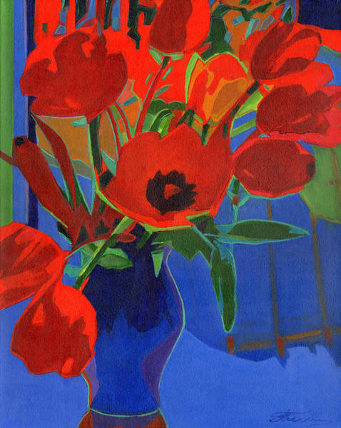 Painting - Red Tulips On Blue  by Tanya Filichkin