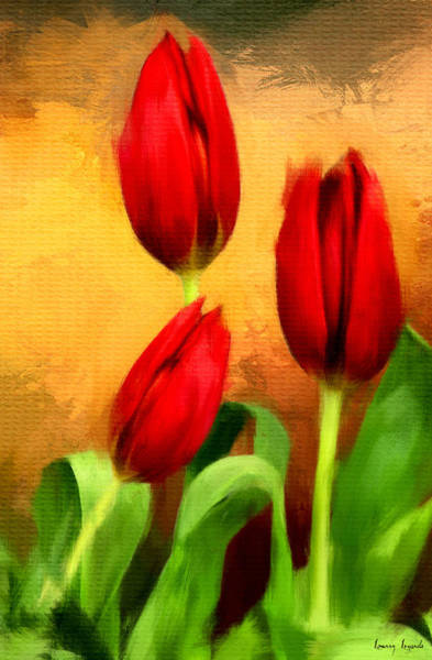 Stem Digital Art - Red Tulips Triptych Section 2 by Lourry Legarde
