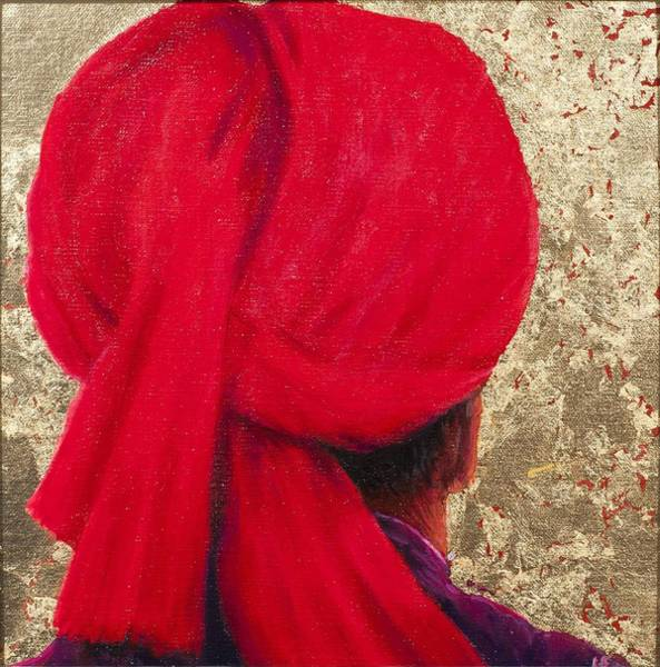 Head And Shoulders Photograph - Red Turban On Gold Leaf, 2014 Oil On Canvas With Gold Leaf by Lincoln Seligman