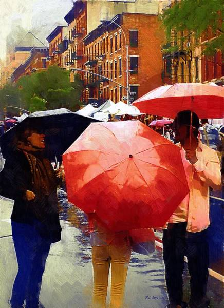 Painting - Red Umbrellas In The Rain by RC DeWinter