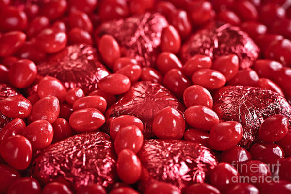 Gift Wrap Photograph - Red Valentine Candy Hearts by Elena Elisseeva