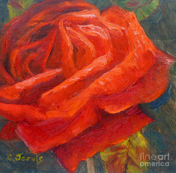 Painting - Red Valentine Rose by Carolyn Jarvis