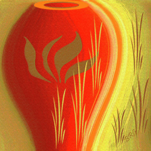 Digital Art - Red Vase by Ben and Raisa Gertsberg