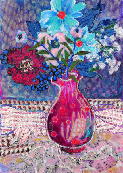 Wallpaper Mixed Media - Red Vase IIi by Diane Fine