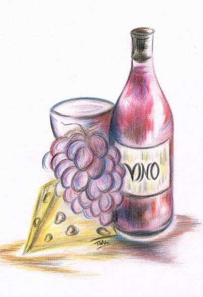 Juicy Drawing - Red Vino Taken With Cheddar Cheese by Teresa White
