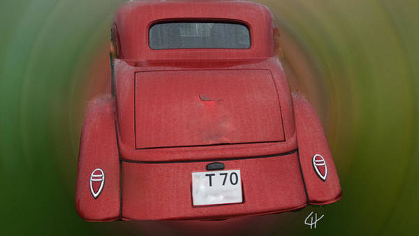 Photograph - Red Vintage Ford Car Back Side  by Colette V Hera  Guggenheim