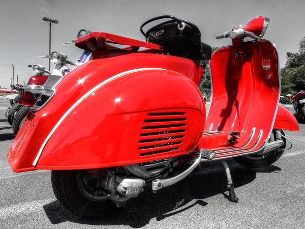 Photograph - Red Vintage Vespa 001 by Lance Vaughn
