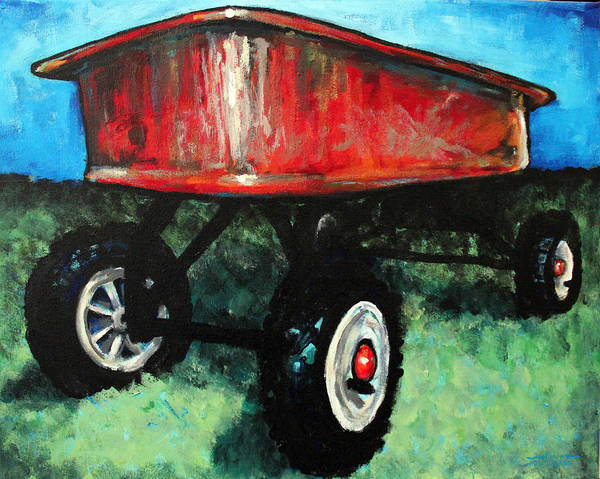 Red Wagon Painting - Red Wagon by Arleana Holtzmann