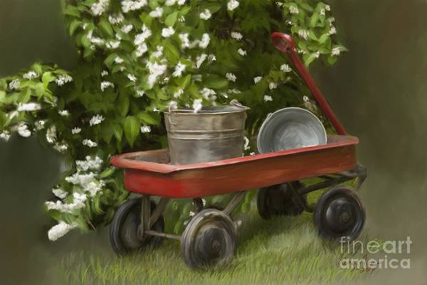 Wagon Digital Art - Red Wagon by Lena Auxier