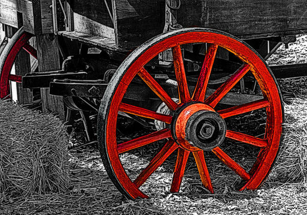Red Wagon Painting - Red Wagon Wheel by Jack Zulli