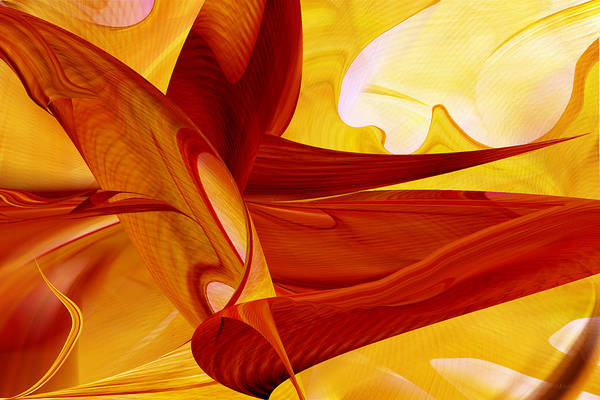 Digital Art - Red Warp Through Gold Space by rd Erickson