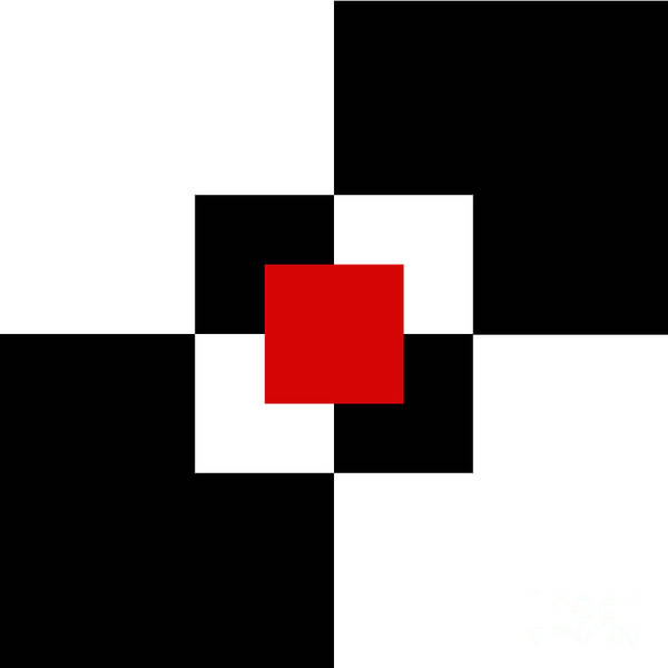 Digital Art - Red White And Black 1 Square by Andee Design
