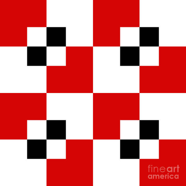Digital Art - Red White And Black 19 Square by Andee Design
