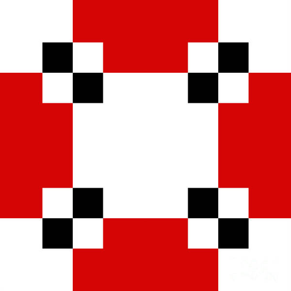 Digital Art - Red White And Black 21 Square by Andee Design