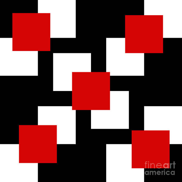 Digital Art - Red White And Black 22 Square by Andee Design