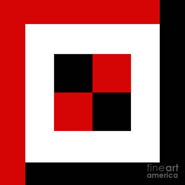 Digital Art - Red White And Black 3 Square  by Andee Design