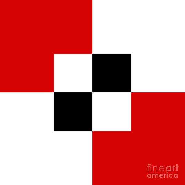 Digital Art - Red White And Black 4 Square  by Andee Design
