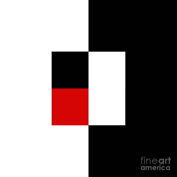 Digital Art - Red White And Black 9 Square  by Andee Design