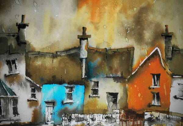 Painting - Red White And Blue Cottages by Val Byrne