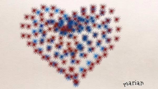 Mixed Media - Red White And Blue Heart by Marian Palucci-Lonzetta