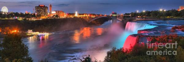 Niagara Falls State Park Photograph - Red White And Blue Niagara Panorama by Adam Jewell