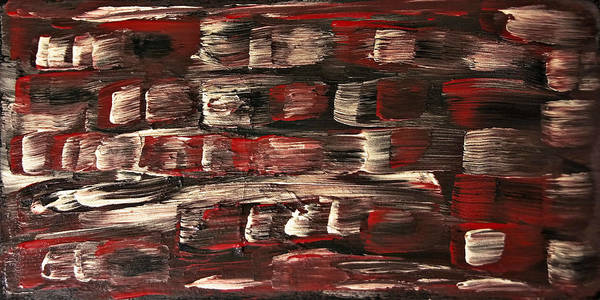 Clear Coat Wall Art - Painting - Red White Black Abstract-sold- Painting by Renee Anderson
