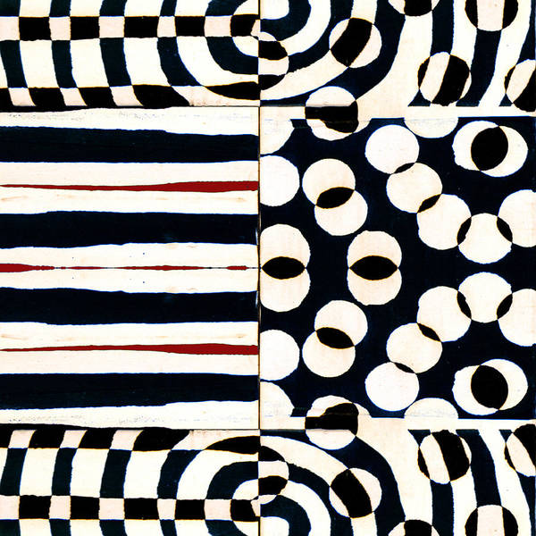 Optical Photograph - Red White Black Number 1 by Carol Leigh