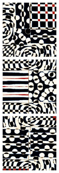 Optical Photograph - Red White Black Number 4 by Carol Leigh