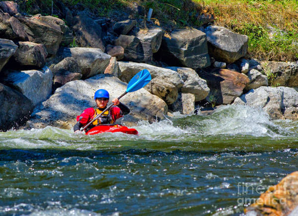 Photograph - Red Whitewater Kayak by Les Palenik