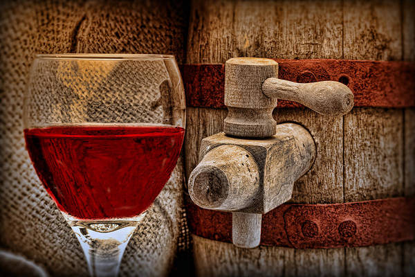 Wall Art - Photograph - Red Wine With Tapped Keg by Tom Mc Nemar