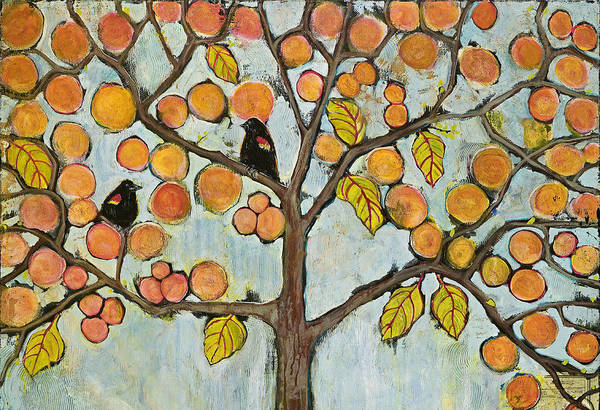 Red-winged Blackbird Wall Art - Painting - Red Winged Black Birds In A Tree by Blenda Studio