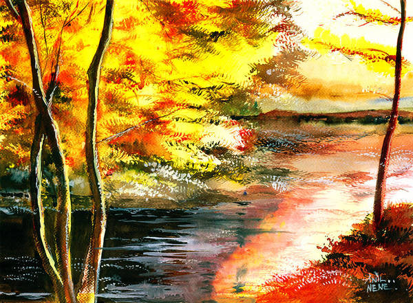 Painting - Red Woods by Anil Nene