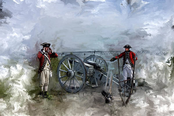 Michilimackinac Wall Art - Photograph - Redcoats At The Mackinac Bridge by Evie Carrier