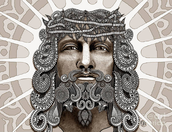 Art Print featuring the mixed media Redeemer - Modern Jesus Iconography - Copyrighted by Christopher Beikmann