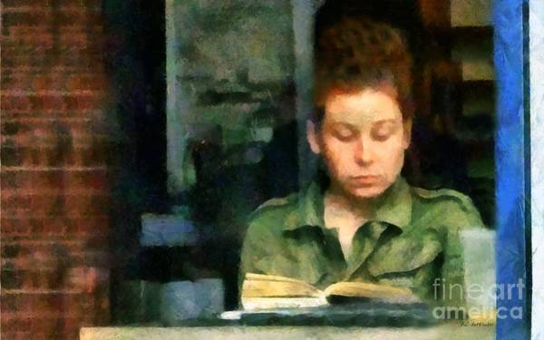 Painting - Redhead Reading A Book by RC DeWinter