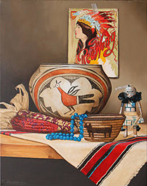 Wall Art - Painting - Redwing - American Indian Still Life By K Henderson by K Henderson