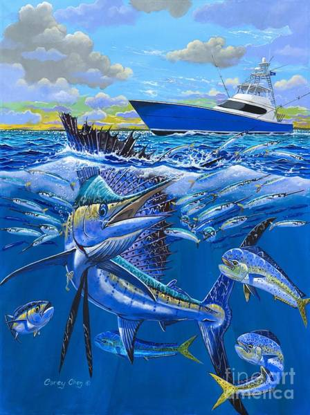 Fishing Boat Painting - Reef Sail Off00151 by Carey Chen