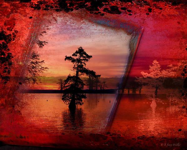 Cypress Digital Art - Reelfoot Sunrise by J Larry Walker