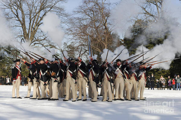 Mounted Shooting Photograph - Reenactment Of The Revolutionary War by Stocktrek Images