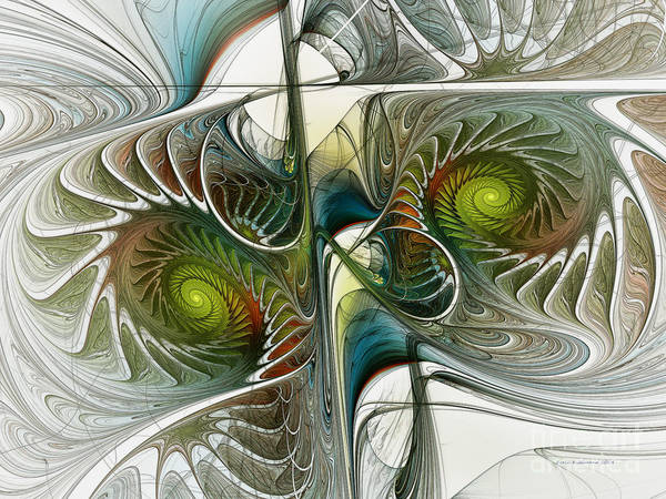 Symmetrical Digital Art - Reflected Spirals Fractal Art by Karin Kuhlmann