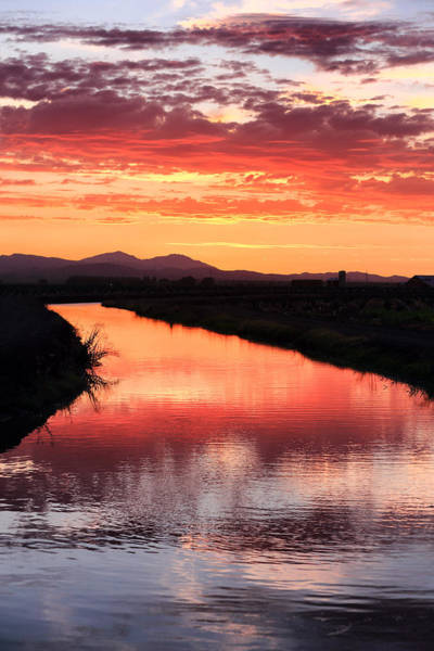 San Joaquin Valley Photograph - Reflected Sunset San Joaquin County Ca by Troy Montemayor